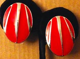 Vintage Silver Tone Red Enamel Post Back Pierced Ear Oval Button Earring... - $28.62