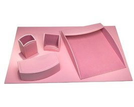 Dacasso 5-Piece Faux Leather Desk Set, Cameo Pink - €83,64 EUR