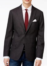DKNY Men's Slim-Fit Gray and Burgundy Check-Pattern Sport Coat , Size 38R, $350 - $148.49