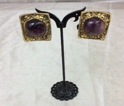 Vintage Costume Jewelry Gold Tone Clip On Earrings with Purple Stones (216) - $21.77