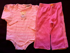 Girl's Size 18-24 M Months 2 Pc Pink Striped Ballerina L/S Top & Gymbore... - $16.00