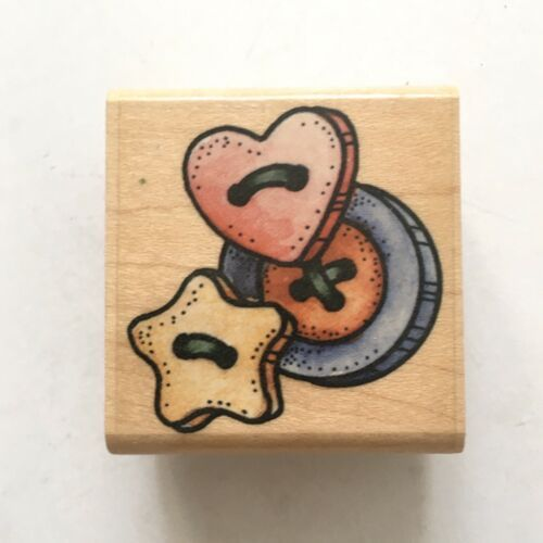 Primary image for Rubber Stampede BUTTON TRIO Rubber Stamp Three Buttons Sewing Craft Wood Mounted