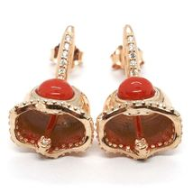 Silver Earrings 925, Little Bell, Bell with Zircon, Coral, Hanging image 5