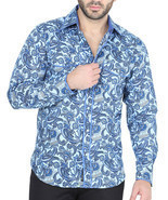 Western Shirt Long Sleeve El General 100% Cotton Color Blue - £22.91 GBP