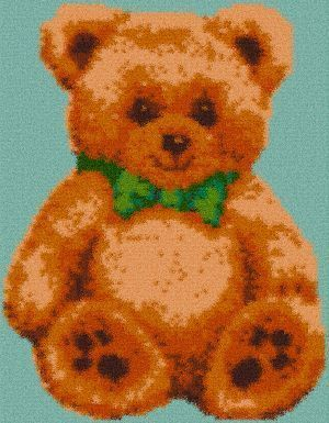 Latch Hook Rug Pattern Chart: Teddy Bear - EMAIL2u