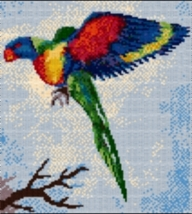 Latch Hook Rug Pattern Chart: Rainbow Lorikeet -EMAIL2u - $5.75