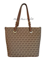 MICHAEL KORS Jet Set Grab Bag Beige Brown Signature Jacquard Logo Med To... - $144.89