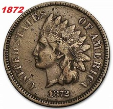 1872 Indian Head, Copper, One Cent, great shape, Low price, and Fast shi... - $3.90