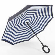 C-Handle Parasol Folding Rain Windproof Umbrella Double Layers Inverted ... - $21.99