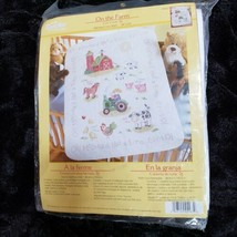 """Bucilla On the Farm Quilted Crib Cover Stamped Cross Stitch Kit 34"""" x 43"""" 45567 - $46.73"""