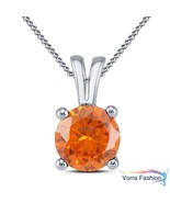 Orange Sapphire 14k White Gold Plated 925 Silver Solitaire Pendant With ... - £28.70 GBP