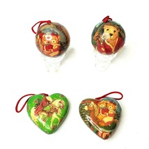 Vintage Style Christmas Ball Ornaments 4 Pc Set Hearts Teddy Bears Old W... - $14.98