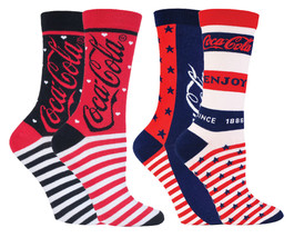 Coca Cola - 2 Pack Ladies Stars and StripeFunky Novelty Cotton Dress Cre... - $12.69