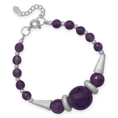 Faceted Amethyst Bead Bracelet