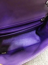 AUTHENTIC CHANEL 2017 PURPLE QUILTED PATENT LEATHER SQUARE MINI CLASSIC FLAP BAG image 9
