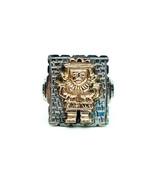 Vintage 10K Rose Gold Sterling Silver Peruvian Inca Warrior Statement Ri... - $143.99