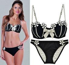 Betsey Johnson Betwixt Polka Dot Underwire Top S & Bottom M Swimsuit Bikini Set - $139.50