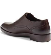Handmade Men's Dark Brown Monk Strap Dress/Formal Leather Shoes image 2