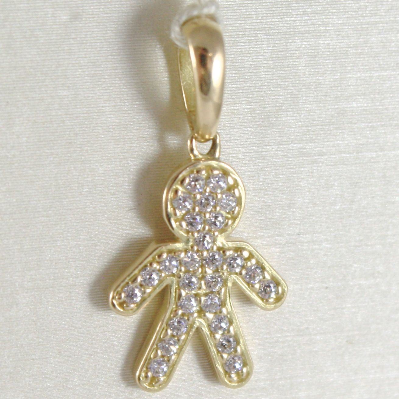 YELLOW GOLD PENDANT 750 18K, CHILD, CHILD LONG 2.3 CM ZIRCON MADE IN ITALY