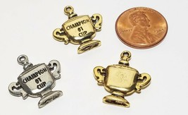 #1 Champion Cup Fine Pewter Pendant Charm - 19.5mm X 21mm X 3mm image 2
