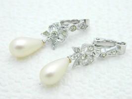 VTG Silver Tone Clear Rhinestone Bow Faux Pearl Dangle Clip Earrings - $19.80