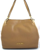 AUTHENTIC NEW NWT MICHAEL KORS LEATHER $298 LEIGHTON BROWN DARK KHAKI TOTE - $158.00