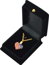 """Flag Heart Pendant w/20"""" gold chain & black velvet display box - $149.99"""