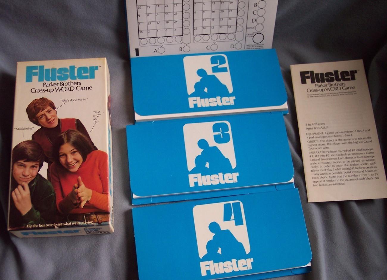 """1973 """"FLUSTER"""" Parker Bros Game Vintage"""