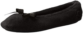 ISOTONER Women's Terry Ballerina Slippers, Black, Large / 8-9 M US - £21.53 GBP