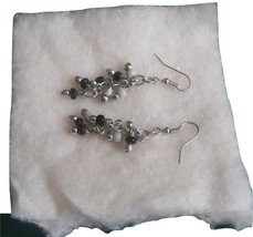 Silver, White and Black Drop Earrings #fashion #jewelry #earrings - $5.69