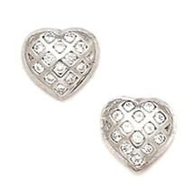Women/Children's Elegant 14K WG 8MM White Sapphire Heart Shape Studs PushBack - £98.78 GBP
