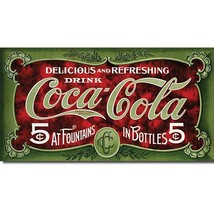 Coca Cola Coke 5 Cent 1900s Advertising Retro Vintage Style Metal Tin Si... - $19.95