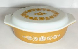 Vintage Pyrex 2.5 Quart Butterfly Gold Oval Casserole Dish Bowl With Lid... - $39.10