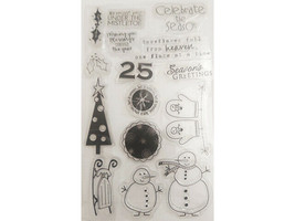 Christmas Clear Stamp Set, Includes Snow People, Tree, Sentiments & More
