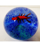 VTG Art glass blue water red lobster paperweight sphere - $27.72
