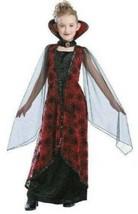 Girls Winged Vampiress Black Red Long Dress & Collar 2 Pc Halloween Costume- 4/6 - $14.85