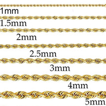 "14K Solid Yellow Gold 1MM-5MM Men's Women Rope Chain Necklace SIZE 16""-36"" - $164.16+"