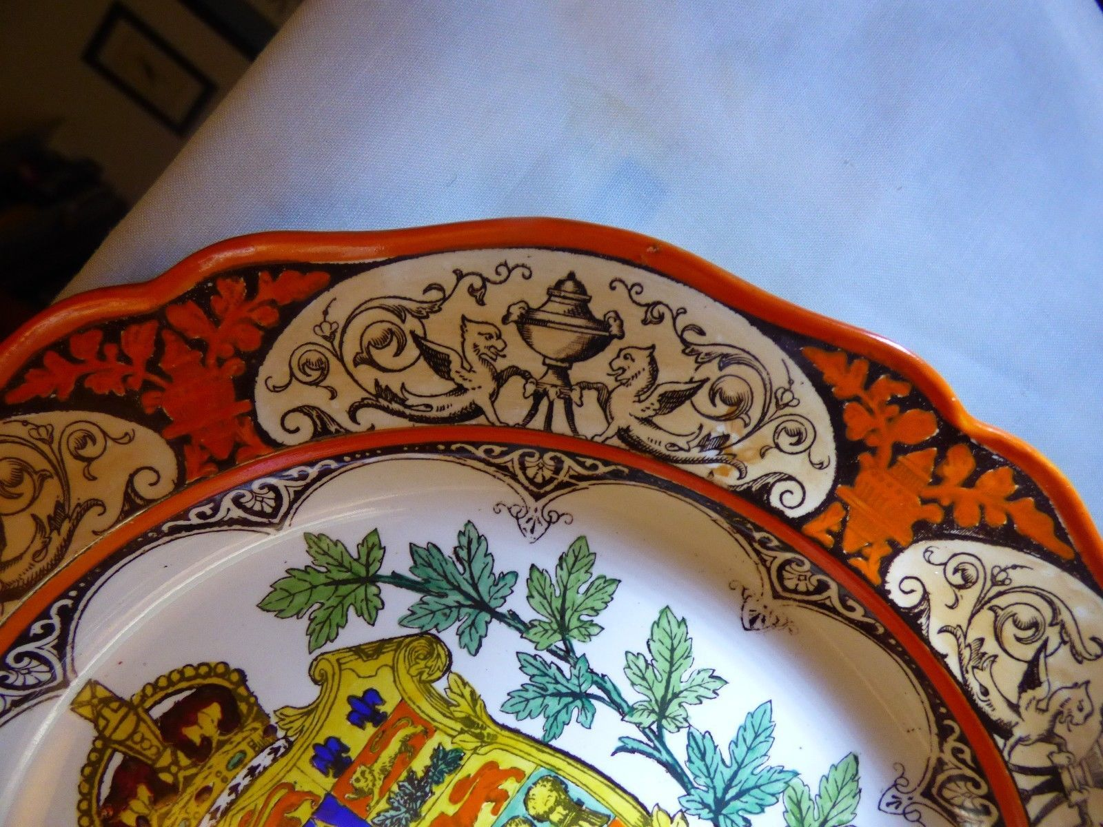 "1911 Wedgwood Etruria Dominion of Canada Montreal 10"" Plate Hand Painted Orange image 4"