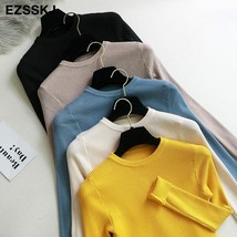 2019 Knitted o-neck Sweater Pullovers Autumn Basic Slim Fit Black Top - $15.11