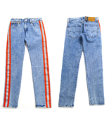 Levi's 512 side stripe tape slim tapered fit jeans in acid light wash 34X32 - $64.34