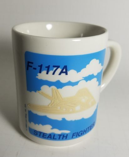 VINTAGE Lockheed F-117A Stealth Fighter Coffee Cup Mug 1989 Aviation Nighthawk