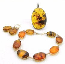 Vintage Gold Tone Baltic Raw Polished Amber Pendant Bracelet Earring Set - $155.93