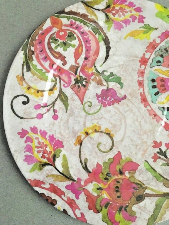 "Melamine Dinner Plates Pink Floral 6 pc set 11"" NEW"