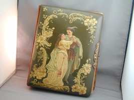 Antique Victorian Celluloid Photo Album Raised Scene Man & Woman With Ph... - $124.99