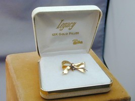 Vintage Legacy Gold Filled Bow Pocket Watch Locket Holder Pin New In Box - $19.99
