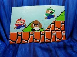 Super Mario Odyssey Bros Luigi Goomba Scene Perler Bead wall art video game - $198.00