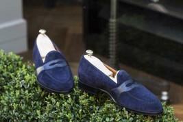 Handmade Men's Blue Slip Ons Suede Dress Loafer Shoes image 1