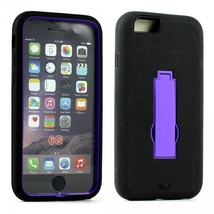 Apple iPhone 6 4.7 Armor Hybrid Case w Screen and Stand (Purple Black) - $10.00
