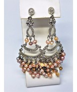 Chandelier Earrings Pierced Vintage Faux Pearls Rhinestones - $25.19