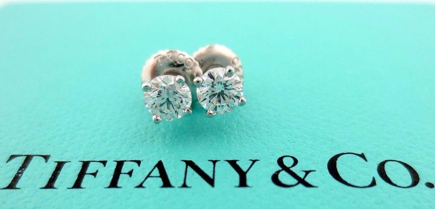 TIFFANY & CO PLATINUM ROUND DIAMOND STUD EARRINGS .55CTW G-H VS1-VS2 $4,500